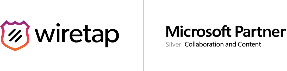 Wiretap logo and the Microsoft Partner Silver Collaboration and Content badge